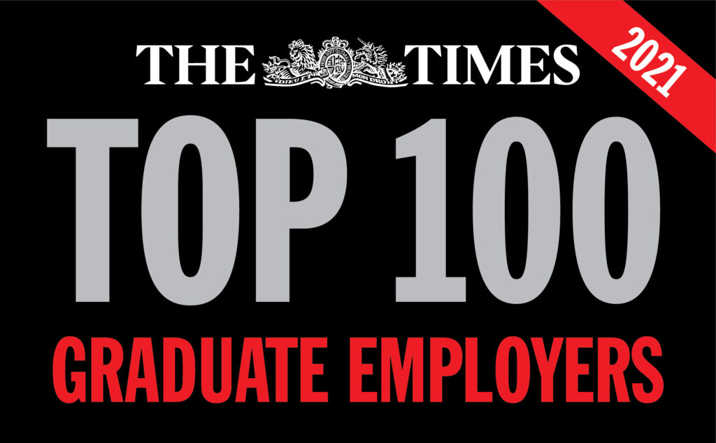 """Image that reads """"The Times Top 100 Graduate Employers 2021"""""""