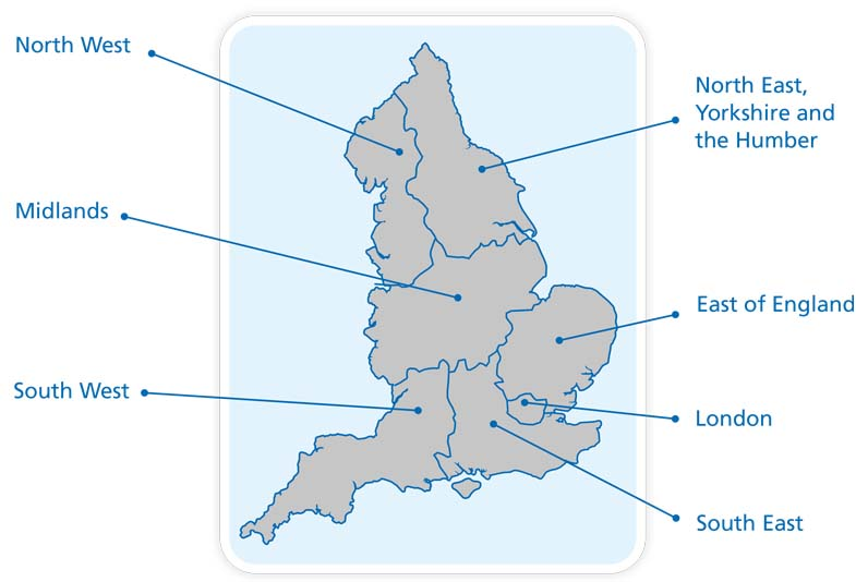 Image of a map of England divided into regions.  There are 7 regions labelled: Midlands, South West, South East, London, East of England, North West and North East, Yorkshire and Humber